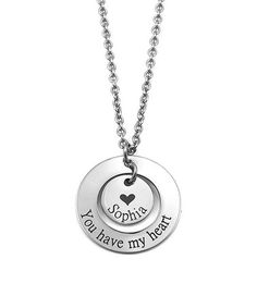 Look at this #zulilyfind! Stainless Steel Personalized 'You Have My Heart' Washer Pendant Necklace #zulilyfinds