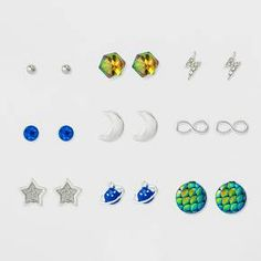 Show your love for the depths of the world with this nine pack earring set! Start with the beautiful mermaid scale studs and move to space with the moon and various celestial icons. You can even mix and match with flawless style.