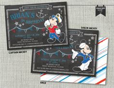 Custom Nautical sailor OR captain MICKEY MOUSE chalk style invitations. Any age & color chalkboard design w/ anchor Digital or Printed 5 x 7