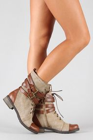 Bamboo Croft-12 Two Tone Military Mid Calf Boot IN BROWN