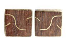 1950s Mexican Sterling SIlver & Wood Screw Back Earrings
