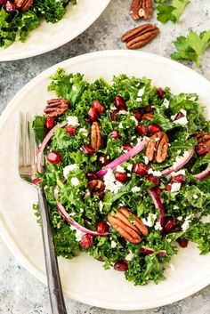Kale, pomegranate and pecan salad