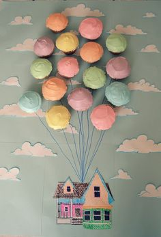 Visit us for more cupcake ideas: http://selfpackaging.com/en/37-cupcakes #cupcakes #Up #UpDisney #Disney #pastelcolours