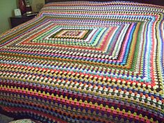 crochet afghan throw lap rug blanket motif granny square Ravelry