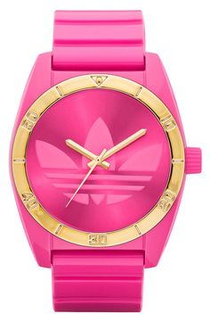 Addidas Hot Pink and Gold Watch - Wantering -- It's okay to accessorize for the gym, right? Adidas Originals, Pink Watch, Gold Watch, Quartz Color, Adidas Watch, Estilo Fitness, Bling, Ring Verlobung, Michael Kors Watch