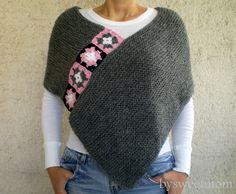 Capes & ponchos, Dark Grey Afghan Boho Chunky Knit Poncho AOD est une création orginale de bysweetmom sur DaWanda