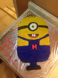 Minion cake for Hudson Minions, Cakes, Desserts, Food, Tailgate Desserts, Deserts, The Minions, Mudpie, Cake