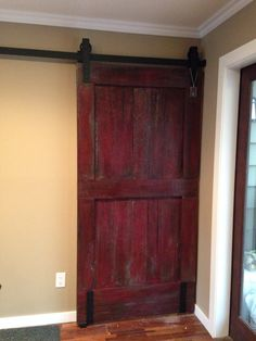 Stunning in Red! A statement piece installed in Kelowna. Handmade Barn doors and Hardware by GOATGEAR. Our doors hang anywhere. With or without a wall. Master Bedroom Layout, Bedroom Layouts, Patio Enclosures, Sectional Sofa With Recliner, Interior Sliding Barn Doors, Red Interiors, Cool House Designs, Grey Walls, Link