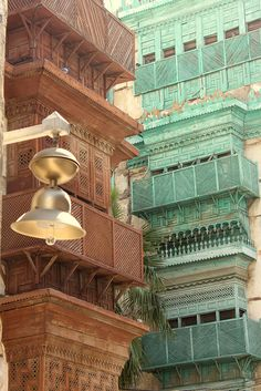 Old houses of Jeddah, Saudi Arabia, remember the beautifully colored balconies while strolling about.