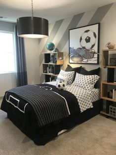 teen boy room with sports themeboys room ideas, boy bedroom decor, boy bedroom design, boy bedroom furniture, boy room artwork ideas Cool Bedrooms For Boys, Teen Boy Rooms, Boys Bedroom Decor, Awesome Bedrooms, Budget Bedroom, Teenage Boy Bedrooms, Preteen Boys Bedroom, Boys Football Bedroom, Boys Bedroom Paint