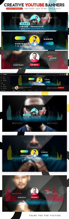 Multipurpose YouTube Banners - YouTube Social Media Youtube Banner Design, Youtube Banner Template, Youtube Design, Youtube Banners, Youtube Banner Backgrounds, Different Art Styles, Social Media Design, Photoshop Tutorial, Videos
