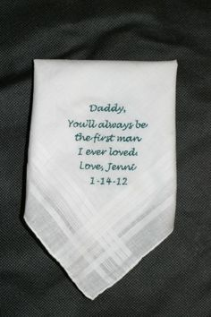 Father of the Bride Wedding Handkerchief Embroidered Gift. $15.00, via Etsy. by mandy