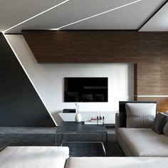 Black, white, and wood TV wall