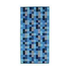 Dieses Duschtuch nimmt Sie mit dem asymmetrischen Design in Blautönen mit in die Achtziger Jahre!