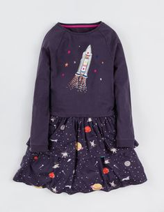 Soot Space Twirly Jersey Dress Boden