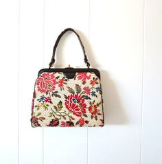 Vintage 1960s Purse / Floral Needlepoint Bag by SmallEarthVintage