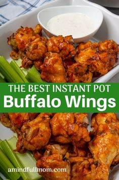 Ready in less than 30 minutes these Buffalo Chicken Wings are the most tender and flavorful chicken wings you will ever have all thanks to the pressure cooker chickenwings instantpot pressurecooker keto paleo amindfullmom Instapot Recipes Chicken, Chicken Wing Recipes, Chicken Wing Flavors, Best Instant Pot Recipe, Instant Pot Dinner Recipes, Instant Pot Wings Recipe, Recipes Dinner, Appetizer Recipes, Soup Recipes
