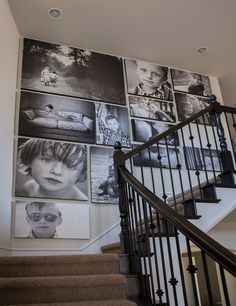 Design photo wall or how to decorate with family pictures - wall decor ideas fa. - Design photo wall or how to decorate with family pictures – wall decor ideas fancy decor ideas f - Stairway Gallery Wall, Gallery Wall Layout, Stairway Art, Art Gallery, Gallery Walls, Family Pictures On Wall, Wall Decor Pictures, Photos On Wall, Canvas Photos