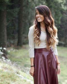 Modest Maroon Leather Skirt Outfit