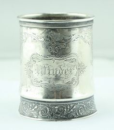 ANTIQUE GORHAM 1604 STERLING SILVER FANCY ENGRAVED MUG   | eBay