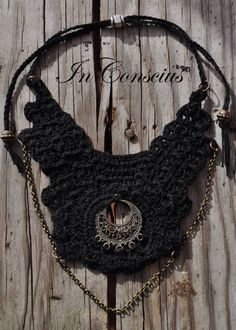 Unique Vintage Black Handmade Crochet Necklace. by InConscius