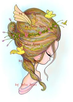 Digital Stamps Digi stamp Coloring pages Hair stamps by JuliaSpiri