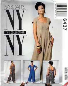 McCall's Pattern 6437 New York Collection Jumpsuits Mccalls Patterns, Sewing Patterns, Ny Ny, Ny Collection, Going Out Outfits, Easy Wear, Vintage Patterns, Capsule Wardrobe, Short Sleeve Dresses