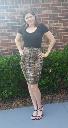 Senna Skirt Pattern designed by Lindsay Woodward made with Metallic Cheetah Print ITY Knit Cheetah Print, Pattern Design, Amanda, Pencil, Skirts, Projects, Dresses, Fashion, Log Projects
