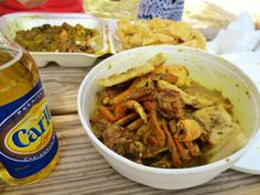 Curry Crab and Dumplings (and a Carib Beer on the side)