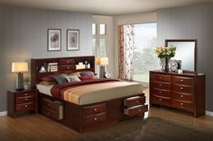 Enjoy exclusive for Roundhill Furniture Emily 111 Wood Storage Bed Group Queen Bed, Dresser, Mirror 2 Night Stands, Merlot online - Onlineshoppingoffers - Lori's Decoration Lab Wood Storage, Affordable Bedding, Furniture, Affordable Bedroom Furniture, Storage Bed, 5 Piece Bedroom Set, Bedroom Furniture Stores, Cheap Bedding, Stylish Bedroom