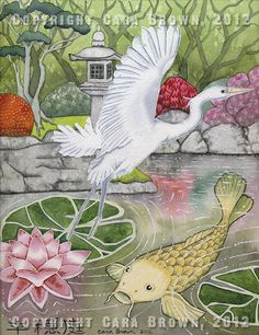 Koi Fish Lotus flower painting in watercolor with white bird Japanese Asian garden