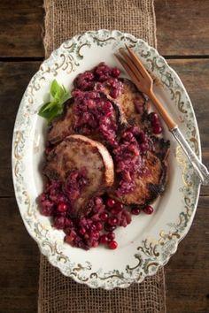 Pork Chops with Cranberry Mustard Sauce #pauladeen