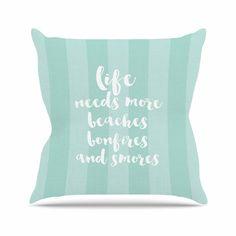 "Sylvia Cook ""Beaches & Bonfires - Mint"" Green Typography Throw Pillow"