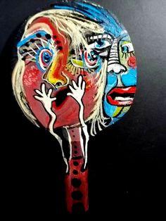 Original Gail Grant abstract outsider painting acrylic on wood folk art prim art #Outsider