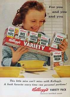 1955 Vintage Kellogg's Variety Pack Cereal Ad. The neat thing about these was the box could be opened to be the bowl. Whoever heard of such a thing.
