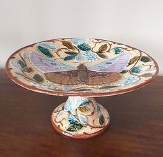 Antique JOSEF STEIDL ZNAIM Majolica Butterfly Pedestal Cake Stand Plate