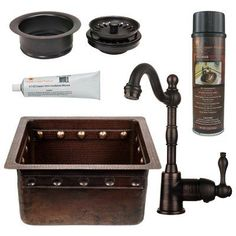"Premier Copper Products Gourmet 16"" x 14"" Single Undermount Bar Sink with Garbage Disposal Drain"