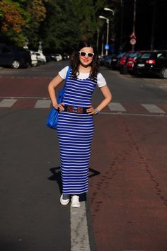blue maxi stripes dress