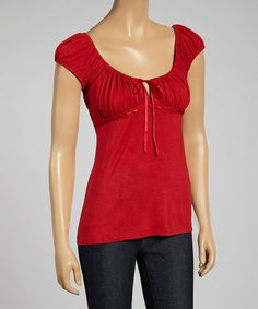 Look what I found on #zulily! Red Pleated Babydoll Top #zulilyfinds