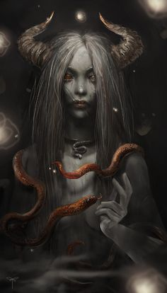 Snake Enchantress by telthona.devianta… on Enchantress Snake por telthona. Dark Fantasy Art, Fantasy Artwork, Fantasy Girl, Dark Gothic Art, Arte Horror, Horror Art, Art Noir, Satanic Art, Snake Art