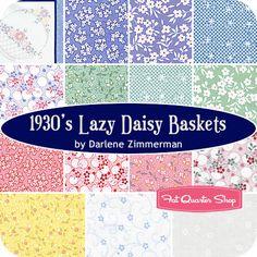 1930's Lazy Daisy Baskets Fat Quarter Bundle Darlene Zimmerman for Robert Kaufman Fabrics - Fat Quarter Shop