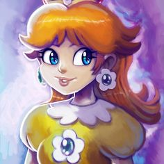 A colorful, digital painting of the princess of Sarasaland~ This took, maybe 4 or 5 hours, not including the time it took to sketch it out. You can see a gif of my progress here: Progress Gif - Cli. Mario Bros., Mario Party, Mario And Luigi, Party Characters, Nintendo Characters, Disney Characters, Chun Li, Divas, Princesa Daisy