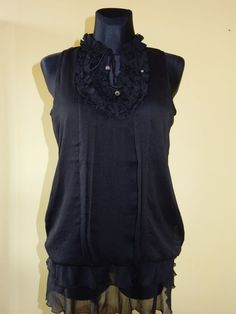 NEW! BLOUSE DDP WOMEN'S BLACK POLYESTERE Sz.M,L FRANCE #DDP #Tunic #Casual