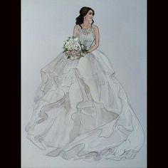 ️Gorgeous Michelle in Hayley Paige- @mishee_corsbie @misshayleypaige #beautifulbrides #bridalillustration  For Illustration enquiry- please contact- karenorrillustration@gmail.com