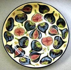 Fig bowl, old pattern painted by artist Geoff Graham of CInnabar Ceramics in Vallejo, California. Pottery Painting Designs, Pottery Designs, Pottery Plates, Ceramic Plates, Stained Glass Paint, Paint Your Own Pottery, Pastry Art, Plate Art, Ceramic Painting