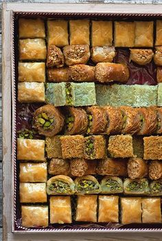 Traditonal honey and lavender baklava is a great wedding snack or canopee for the reception food recipe desserts Box of Sweets Lebanese Recipes, Turkish Recipes, Greek Recipes, Persian Recipes, Turkish Sweets, Arabic Sweets, Arabic Food, Turkish Dessert, Arabic Dessert