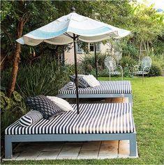 Pool Patio Furniture, Diy Garden Furniture, Diy Outdoor Furniture, Furniture Ideas, Furniture Layout, Rustic Furniture, Antique Furniture, Outdoor Beds, Simple Furniture