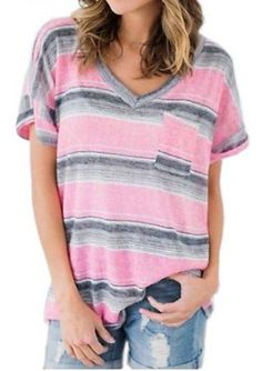 da3ed9d2b23 Striped Pocket T-shirts 2017 Autumn Women Loose Tees Short Sleeve V Neck  Casual Full Printed Tops Multicolor T shirt