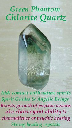 Chlorite Quartz aids contact with nature spirits, spirit guides & angels Boosts growth of psychic visions aka clairvoyant ability & clairaudience Strong healing crystals. Healing Crystals For You, Meditation Crystals, Crystal Healing Stones, Crystal Magic, Stones And Crystals, Gem Stones, Minerals And Gemstones, Crystals Minerals, Nature Spirits