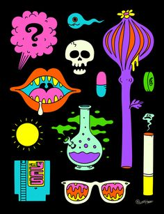 Art - Oliver Hibert – Trippy Drugs And Stuff Poster - Present Day Poster